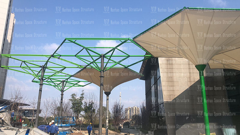 Wuxiang Subway Station Umbrella PTFE Membrane Structure Project Completed
