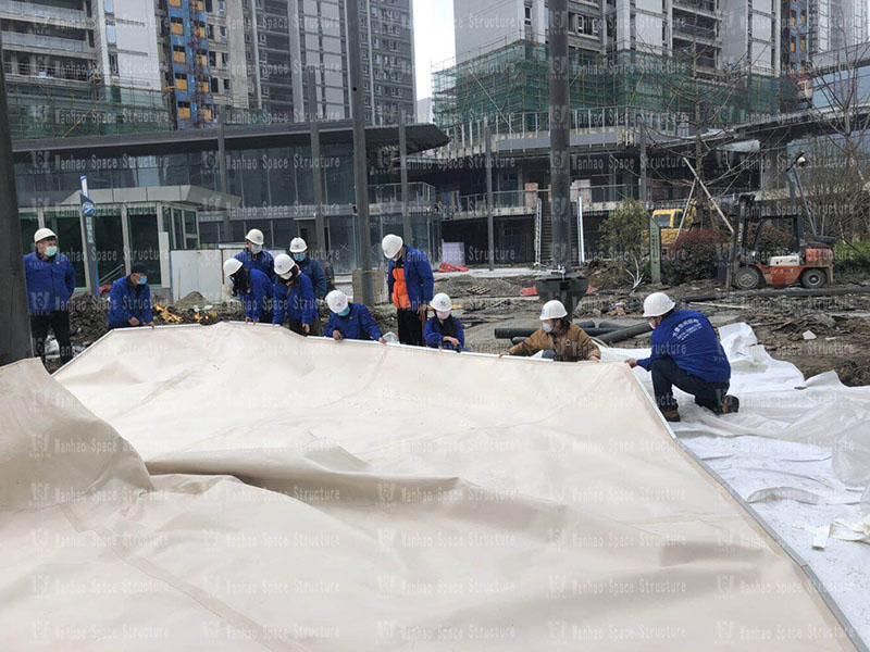 Umbrella-shaped PTFE membrane structure project of Wuxiang Subway Station