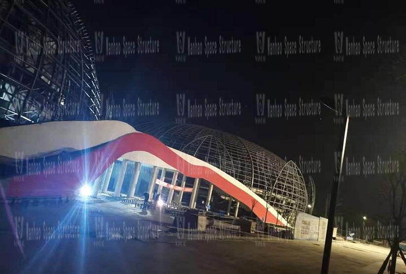 四川彭山训练基地(一期)膜结构项目主结构基本完成
