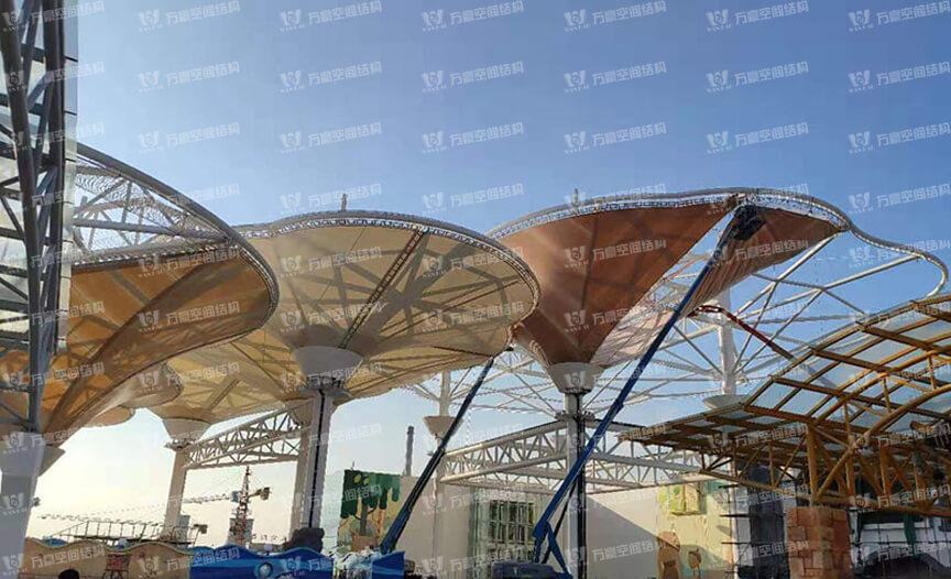 Shangdong liaocheng Wanda Town Colorful Cloud Cable Membrane Structure Project
