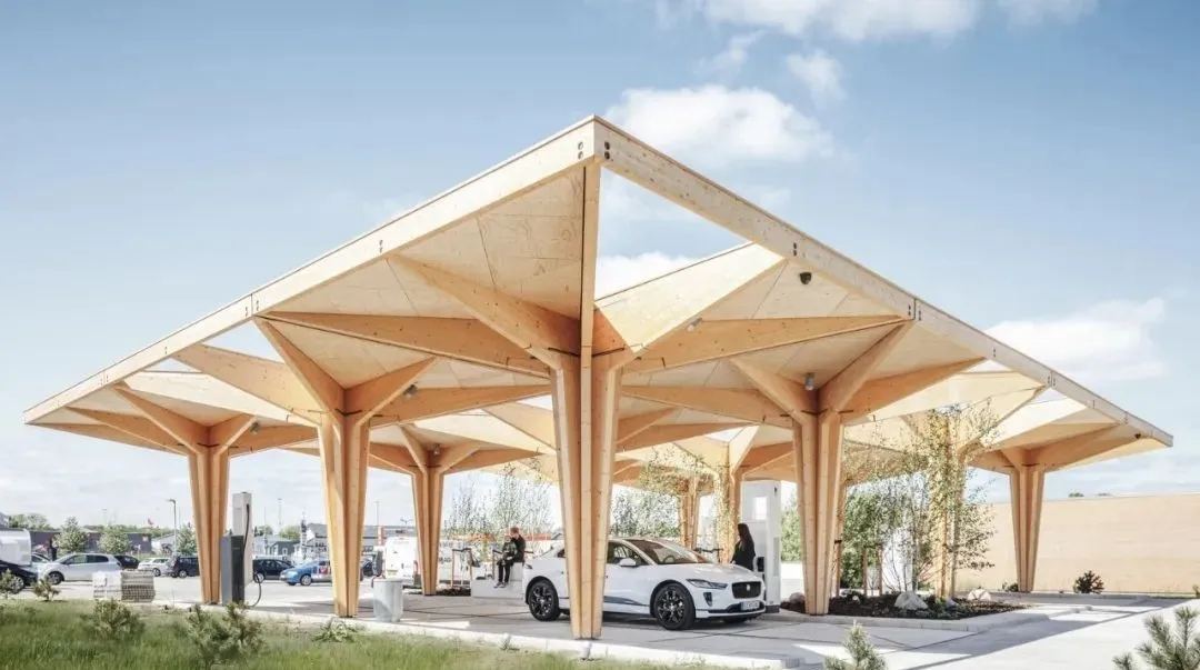 A car shed with charging piles that can