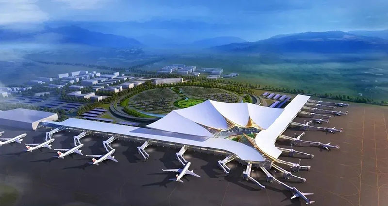 Lhasa Gonggar Airport 10,000-ton steel structure topped