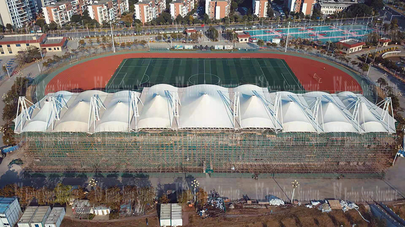 Shanwei Sports Center (Phase I) Track and Field Field Membrane Structure Project Enters the Stage of Secondary Membrane and Waterproof Construction