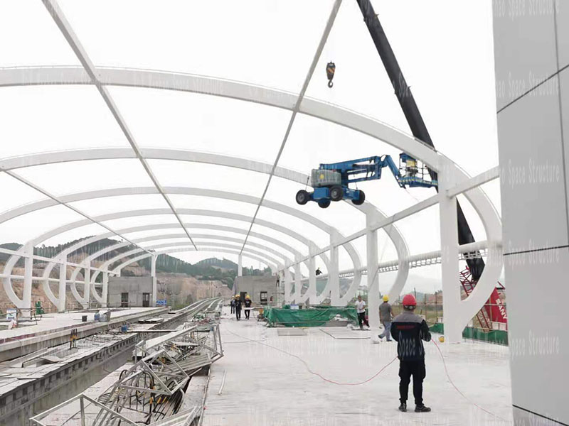 Qingyuan Magnetic Levitation Project Lianhu Station Steel-Membrane Structure Engineering Steel Structure Fireproof Coating Completed