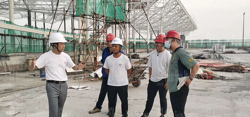 The membrane structure project of the Hangzhou Asian Games baseball (soft) ball sports and cultural center is under construction
